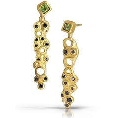 Tourmaline and Diamond Scribble Earrings by Shauna Blythe Burke