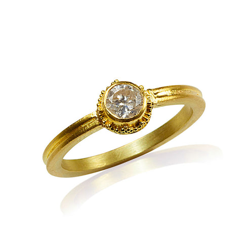Diamond Engagement Ring 22k Gold
