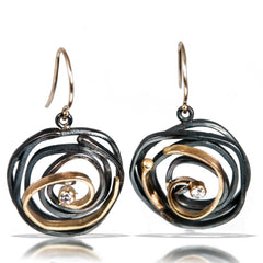 Whirlpool Orbit Diamond Earrings by Lori Gottlieb