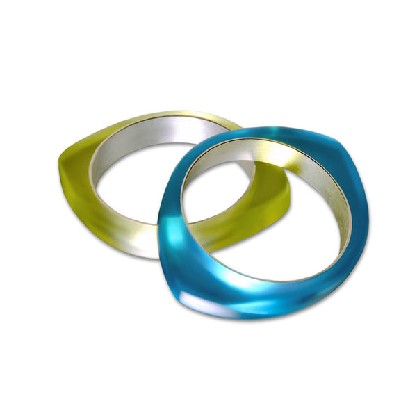 Oh Bangle Custom Color Blended Resin and Fine Silver Bracelet