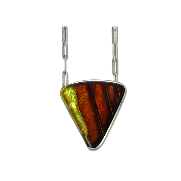 Dale Triangular Resin 23k Gold and Silver Necklace