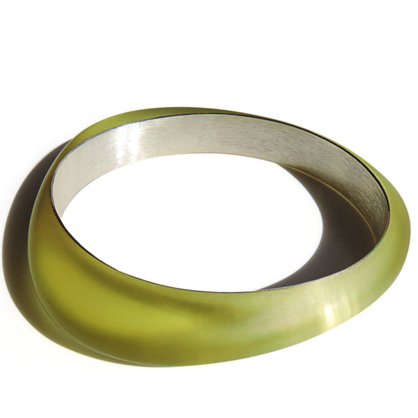 Rounded Edge Abstract Chartreuse Resin and Silver Triangle Bangle