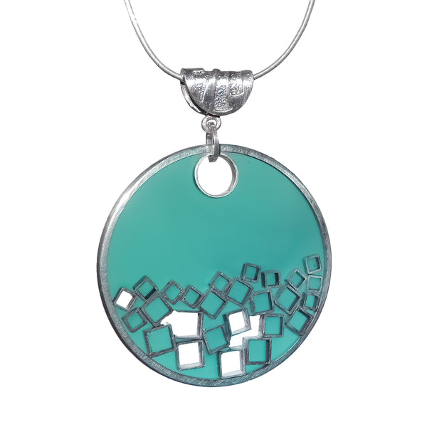 Celestial Square Turquoise Resin and Silver Pendant