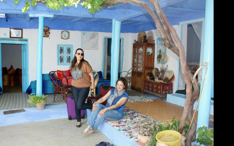 my sister and me at the farmer house, we try to stay at local's houses rather than hotels. Try it instead of hotels, motels and riads.