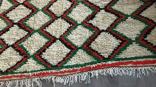 Green & Red Zigzag - -Azilal Authentic Handmade Wool Rug - Festive Season Discount -15%
