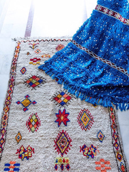Sun - Azilal Authentic Handmade Wool Rug - Festive Season Discount -15%