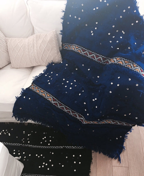 Bleu Sky - Authentic Moroccan Handmade Wedding Blanket / Handira