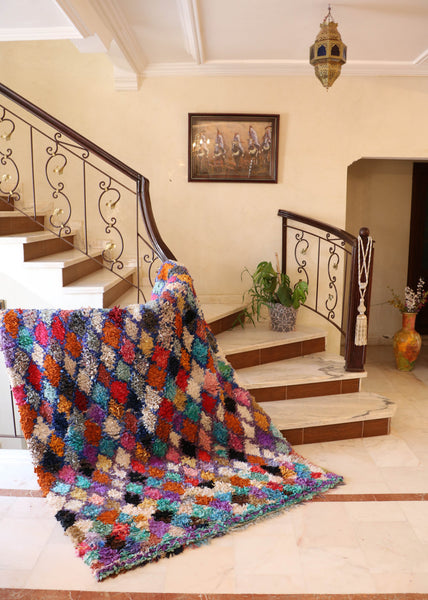Bonbon - Boucherouite Authentic Handmade Wool Rug - Festive Season Discount -15%
