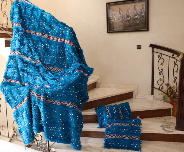 Turquoise Blanket - Authentic Moroccan Handmade Wedding Blanket / Handira - Festive Season Discount -15%