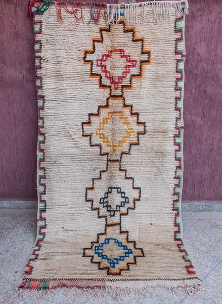 Vintage - Azilal Authentic Handmade Wool Rug - Festive Season Discount -15%