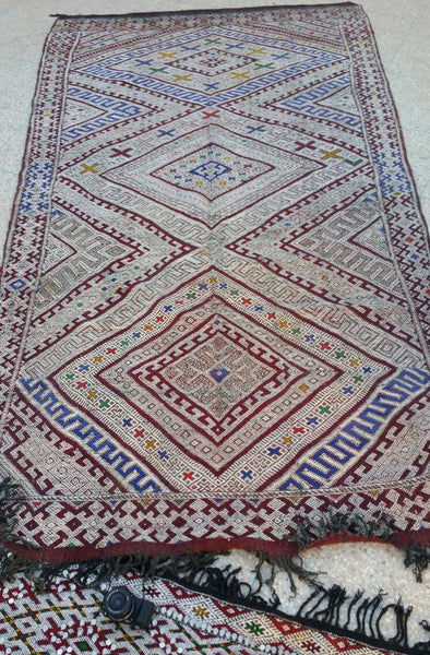 Morocco Flat Rug - Vintage Rare Authentic Handmade Wool Rug - Festive Season Discount -15%