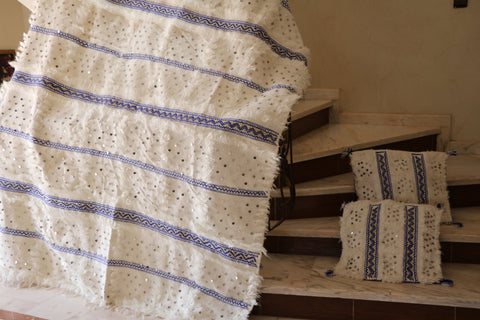 Vibes - Authentic Moroccan Wedding Blanket/ Handira+2 matching Pillows - Festive Season Discount -15%