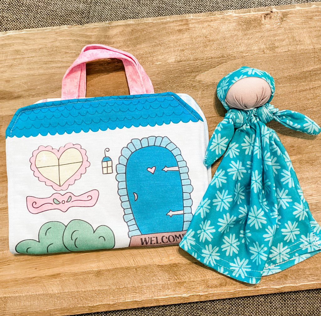 Lovey Baby with Dollhouse Carrier