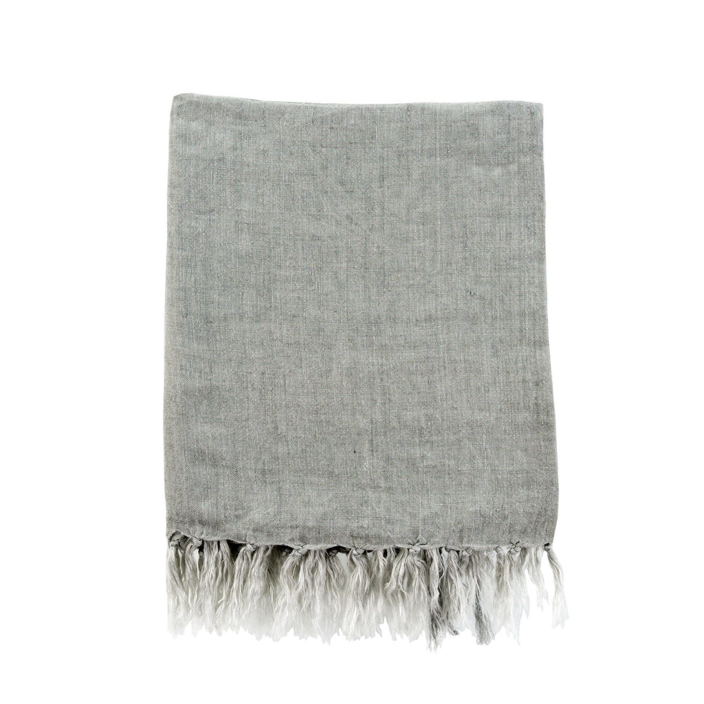 Lina Linen Throw in Flint Gray