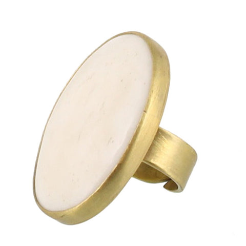 Bezel Set Ring Brass - Bone