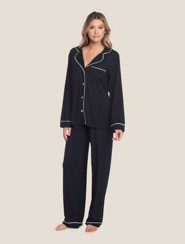 Luxe Milk Jersey Piped Pajama Set in Black/Pearl