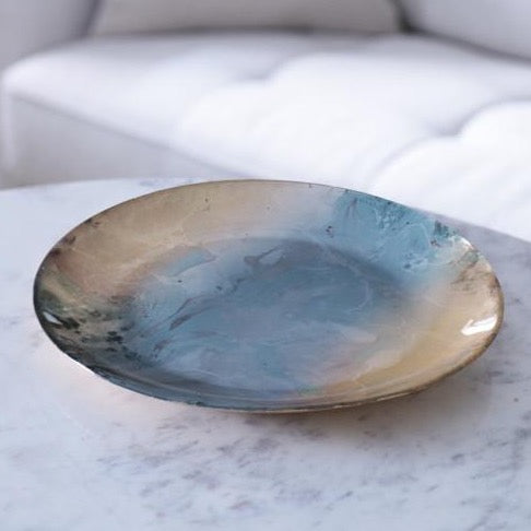 Glass Light Teal Gold Foil Round Platter