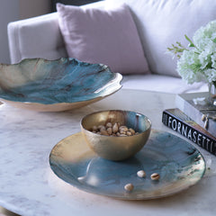 Glass Light Teal Gold Foil - Small Bowl
