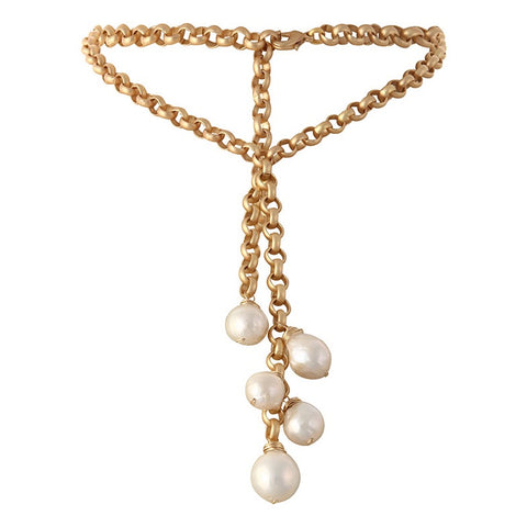 Turkish Gold & White Edison Pearl Waterfall Necklace