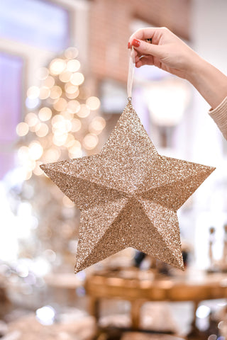 Gold Glitter Star Ornament