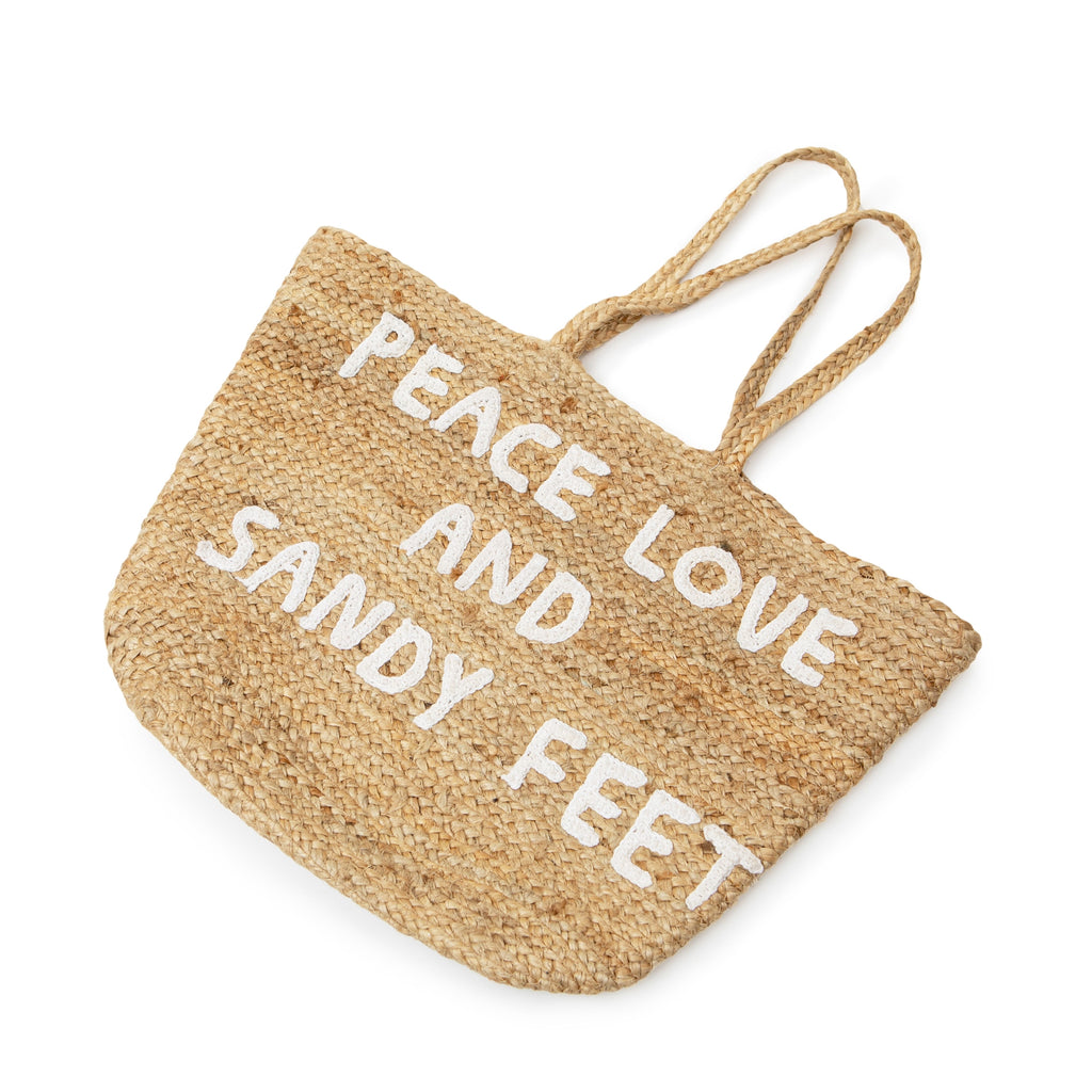 Large Jute Basket with Handles - Peace Love and Sandy Feet