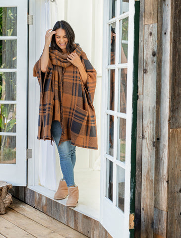 CozyChic Hooded Plaid Poncho with Fringe