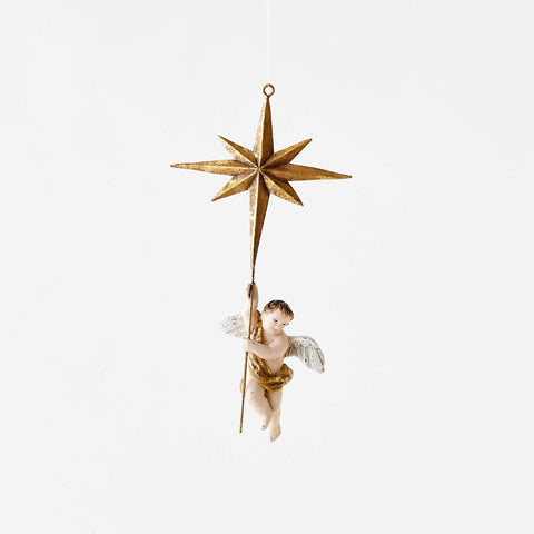 Hanging Cherub with Star Ornament