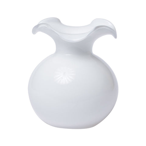 Hibiscus Glass White Fluted Vase - Small