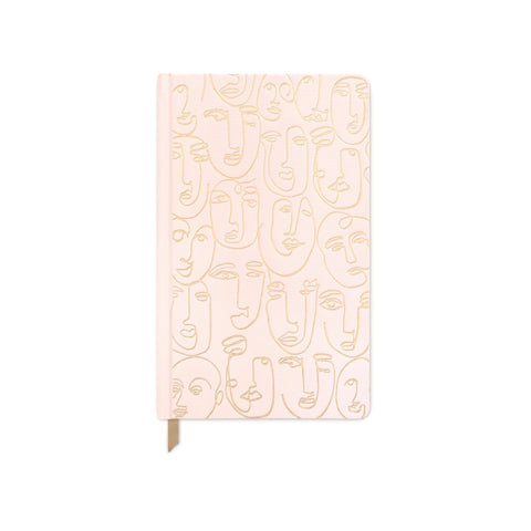 Blush Pink Faces Cloth Journal