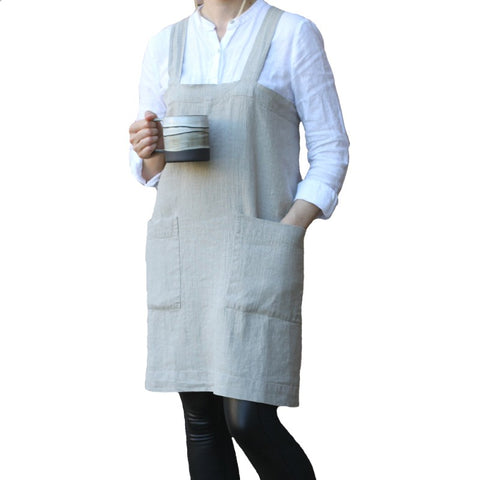 Linen Cross Back Apron with Two Pockets - Natural Color