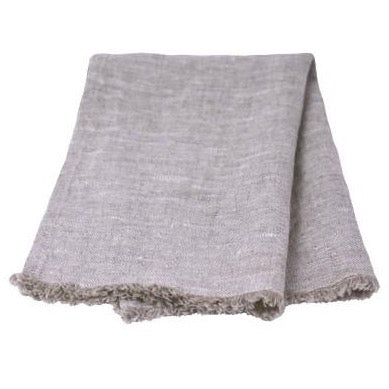 Linen Guest Towel - Stonewashed - Light Natural w/Frayed Edges