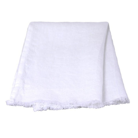 Linen Guest Towel - Stonewashed - White w/Frayed Edges