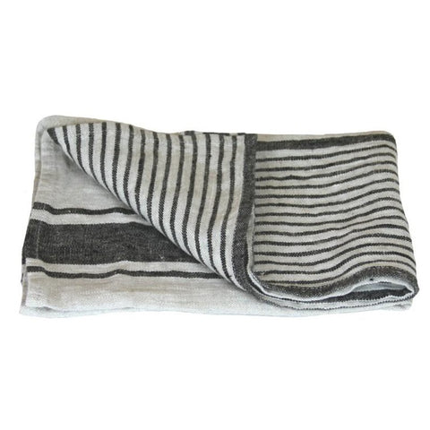 Linen Hand Towel - Stonewashed - Grey w/ Black Stripes II