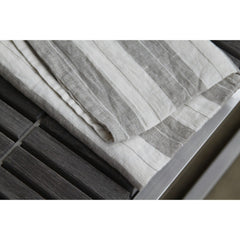 Linen Kitchen Towel - Stonewashed - Grey White Wide Stripes II