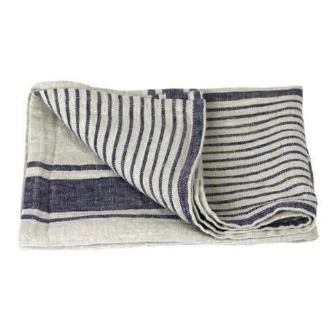Linen Hand Towel - Stonewashed - Grey w/ Blue Stripes II