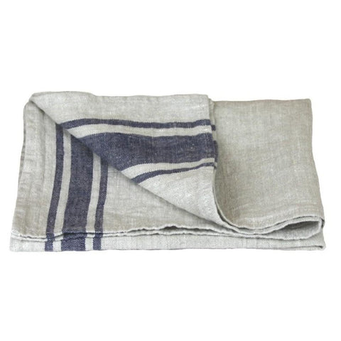 Linen Hand Towel - Stonewashed - Grey w/ Blue Stripes