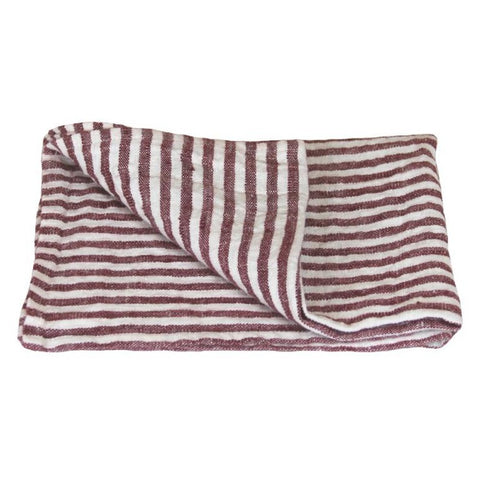 Linen Hand Towel - Stonewashed - Maroon White Stripes