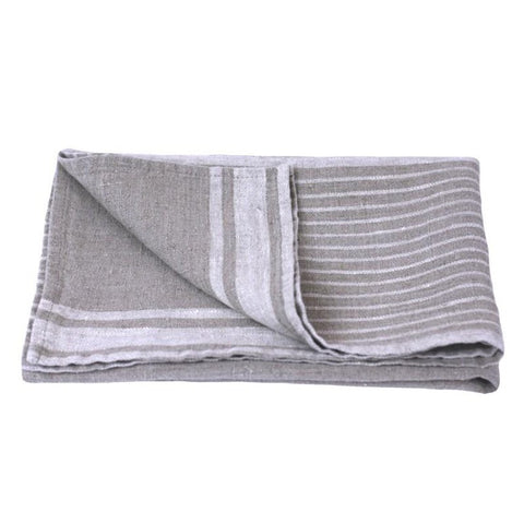 Linen Hand Towel - Stonewashed - Natural w/ Light Natural Stripes II