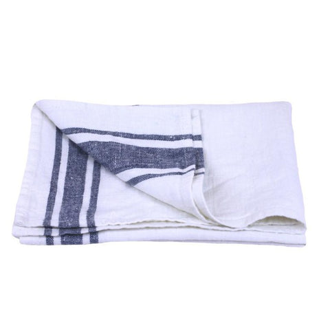 Linen Hand Towel - Stonewashed - White w/ Blue Stripes