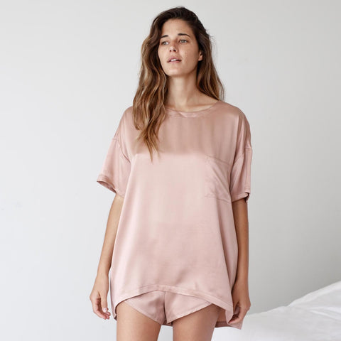 Washable Silk Tee Set in Bare