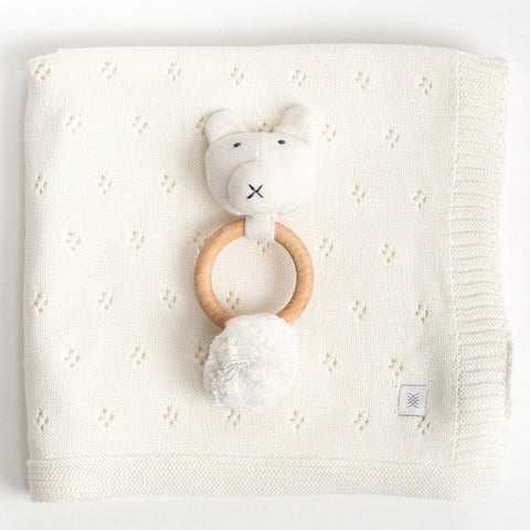 Organic Cotton Clover Knit Baby Gift Set in White