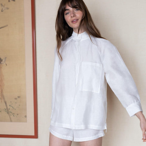 Resort Linen Silk Shirt Set in White
