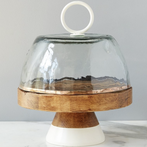 Glass Dome Cloche - White Handle