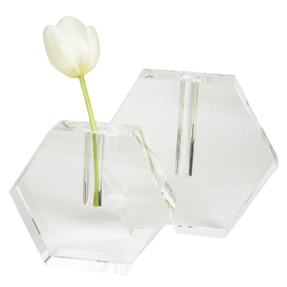 Crystal Glass Hexagon Flat Bud Vase
