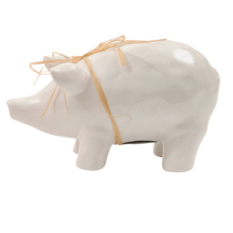 Ceramic Piggy Bank - White