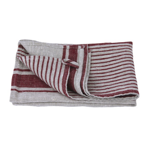 Linen Hand Towel - Stonewashed - Grey with Bordeaux Stripes II