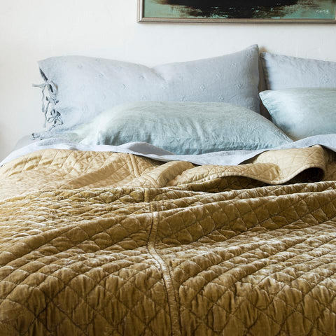 Silk Velvet Quilted Coverlet - Honeycomb - King