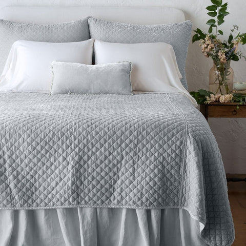 Silk Velvet Quilted Coverlet - Sterling - King