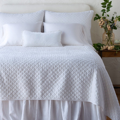Silk Velvet Quilted Coverlet - White - Queen