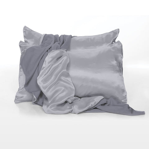 Satin Pillowcases in Dark Silver